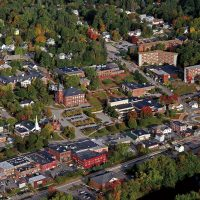 Aerial view of campus from the east.