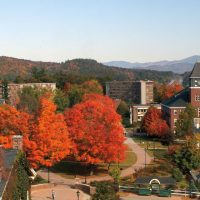 Fall foliage lights up campus.