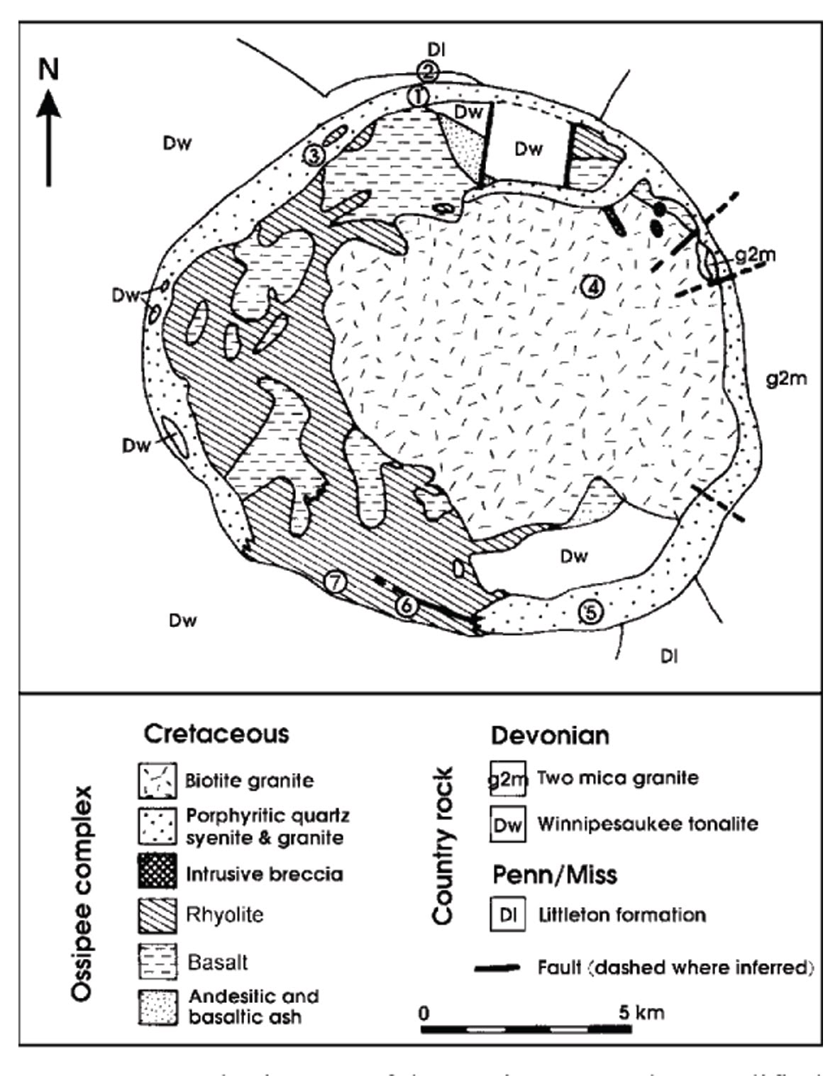 This is a bedrock geologic map of the Ossipee volcanic ring dike.  Notice where the basalt is formed, around the granite, in a partial ring, http://whitemountainsojourn.blogspot.com/2010/05/moat-mountain-moat-volcanics-look-at.html.  Granite forms 3 to 5 miles below the surface, that means all of the existing granite outcrops on the surface today, whether on an exposed mountain top or in a road cut, used to be that far below the surface, http://www.nhgeology.org/jurassic.htm