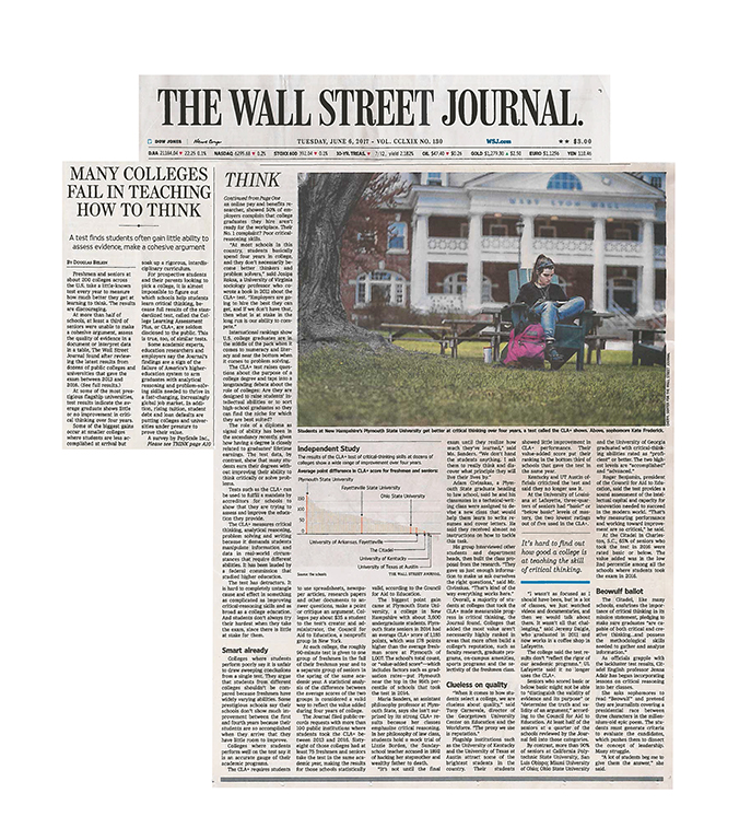 Wall Street Journal Article: Plymouth State Ranked Top in ...