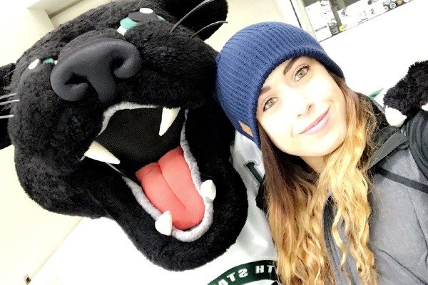 Breanna M. Barksdale '17 with Pemi the Panther
