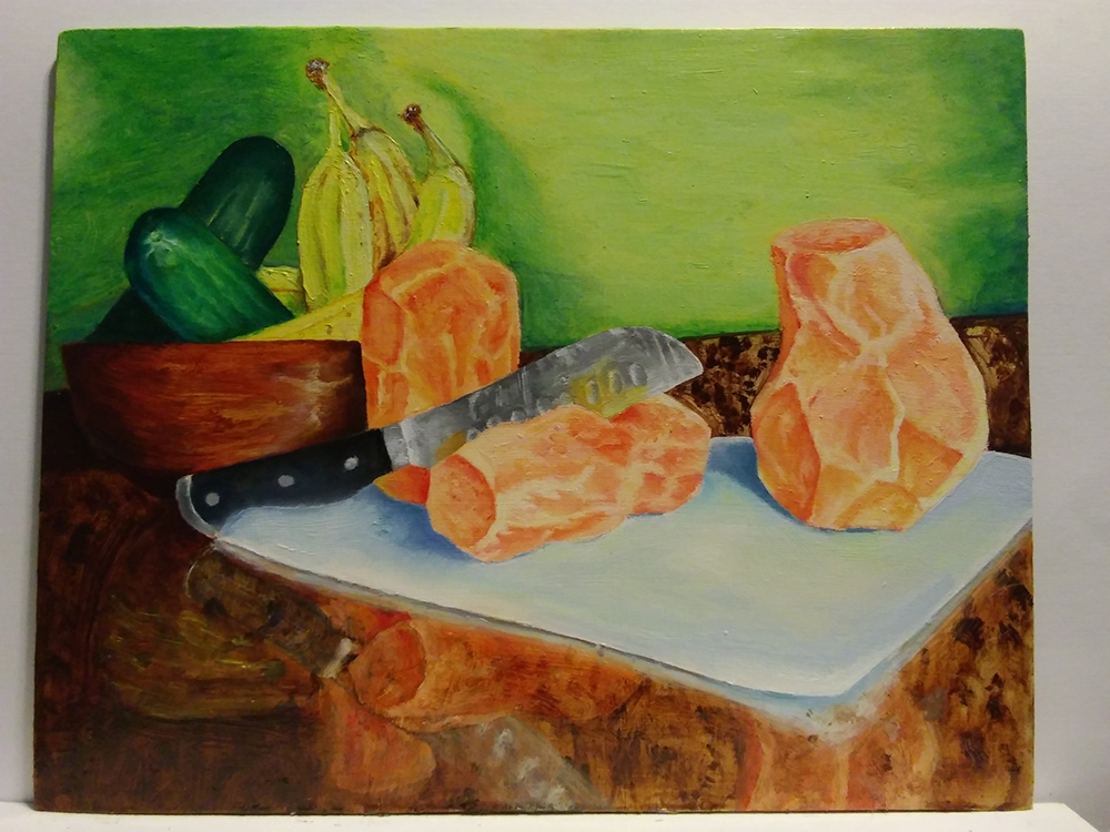 """Sweet Potatoes on a Cutting Board"" Brian"