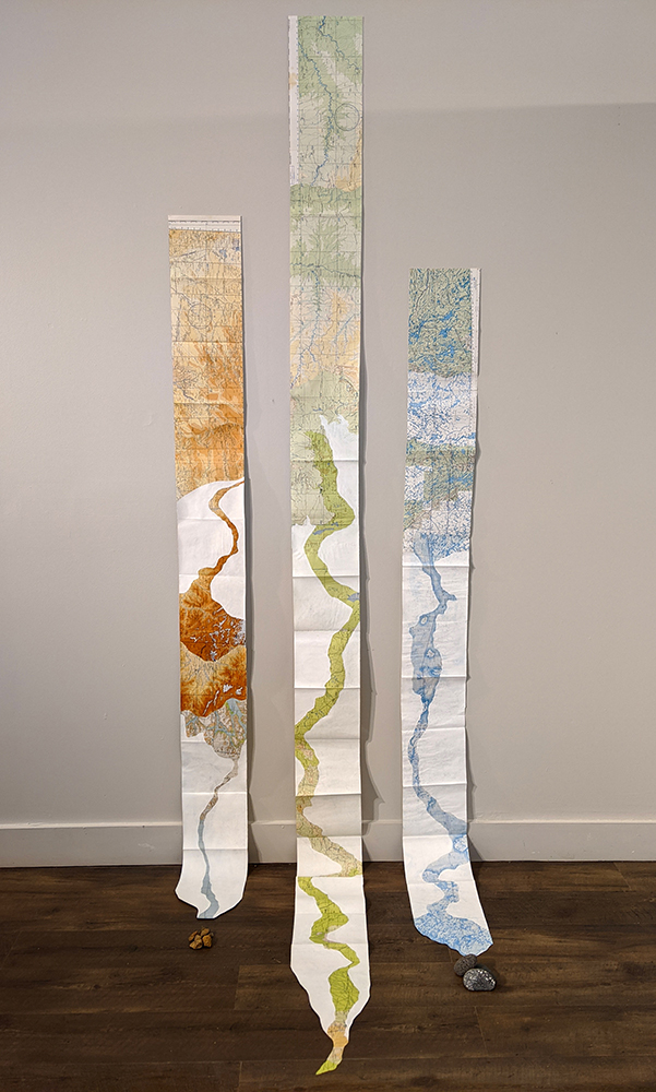 Kimberly Ritchie Vatn, Accordion Book Installation, Altered Maps, Icelandic Rocks, 2019
