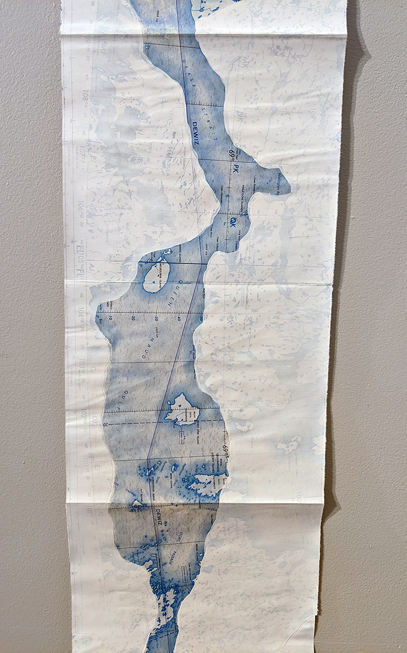 Kimberly Ritchie, Vatn (Detail) Accordion Book Altered Maps, Icelandic Rocks, Installation 2019