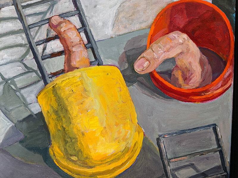 Michael Heffernan, Fingering it Out (Detail), Oil on Canvas, 2019-20