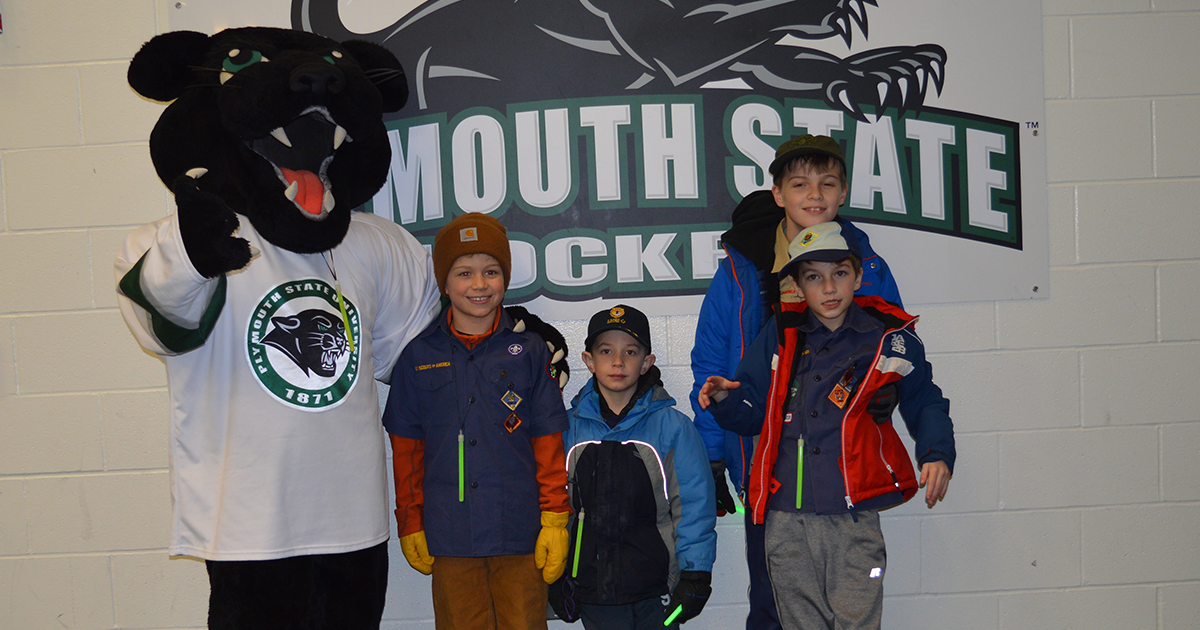 Boy Scouts pose with Pemi the Panther