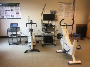 Stationary bikes in research lab