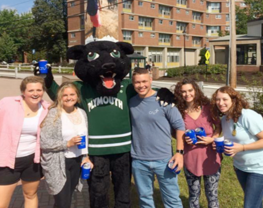 Group photo on campus with Pemi the panther