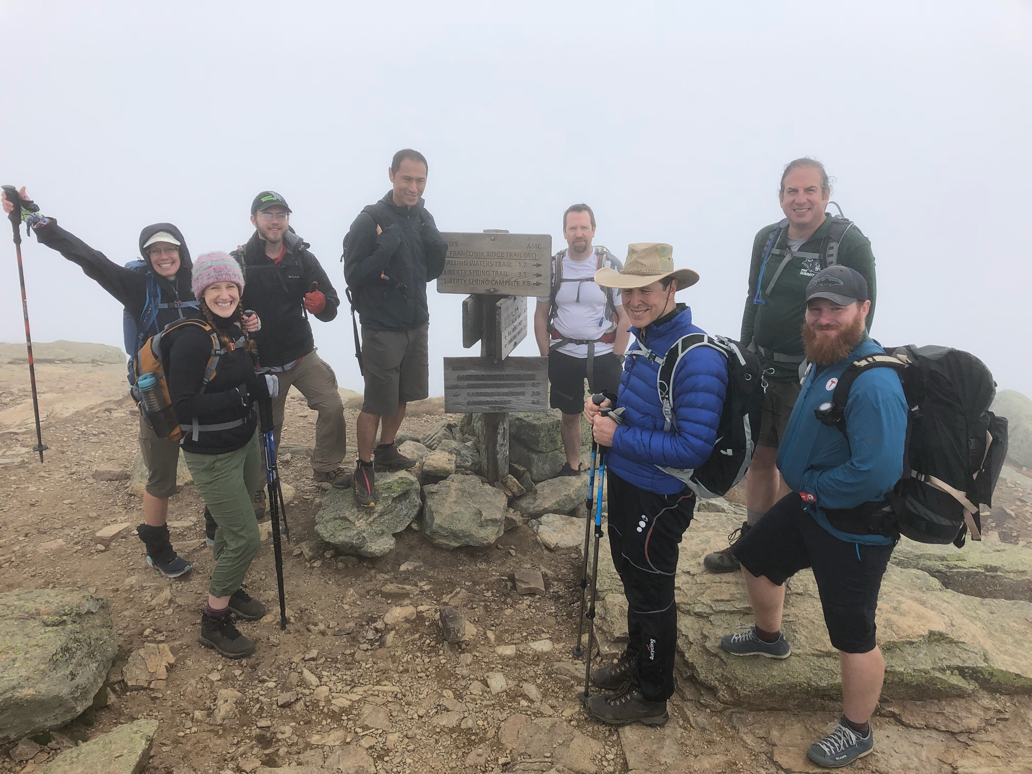 Summit Day participants on the top of Mount Lafayette.