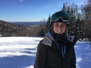 Kate Martin skiing in the mountians of New Hampshire.