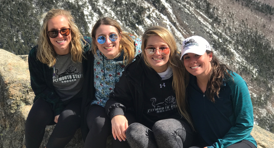 Kate Martin hiking with her friends.