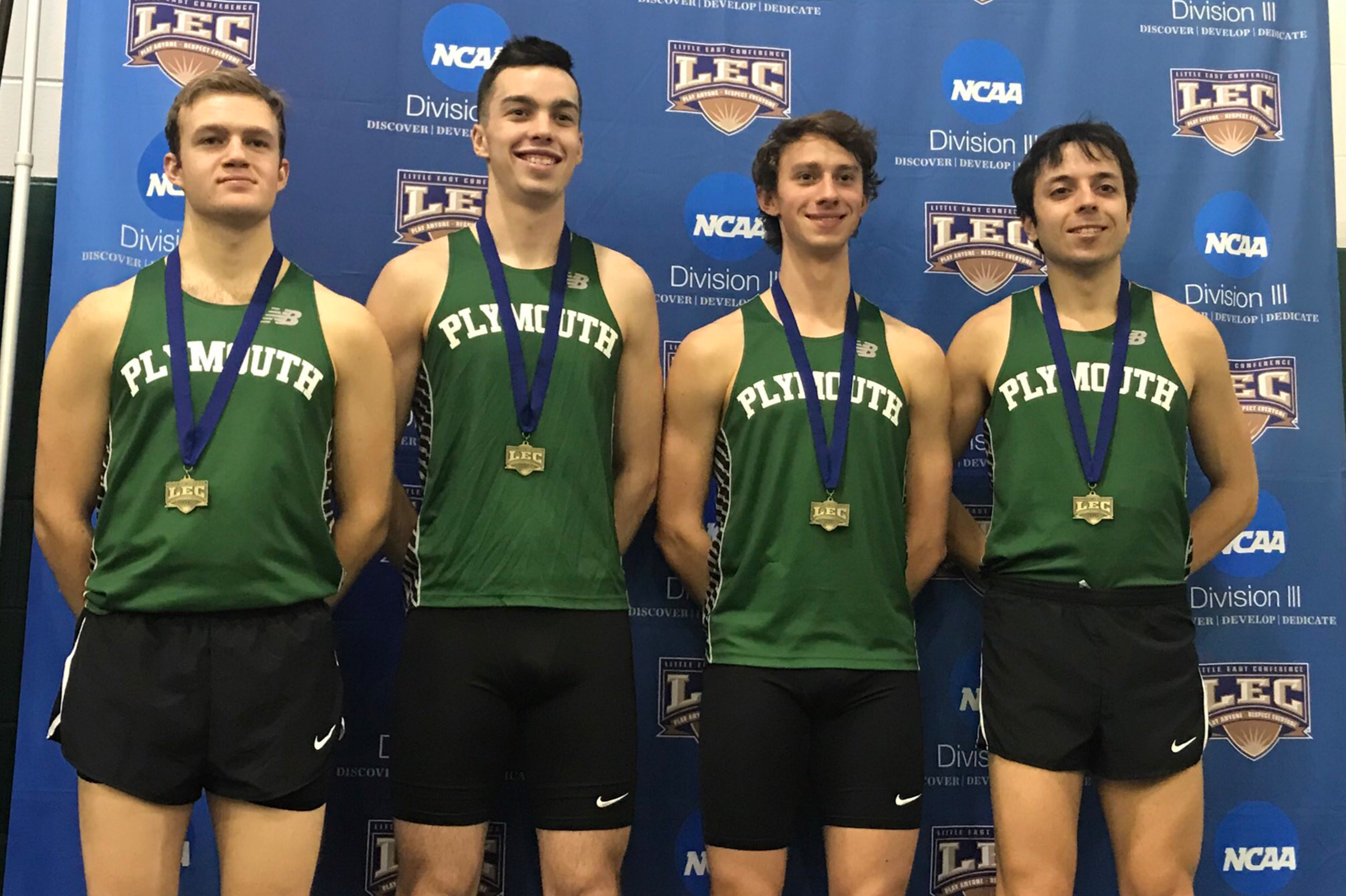 The PSU men's indoor track & field 4x800m relay team consisting of Ben Platt, Nate Belanger, Noah Byington, and Warren Bartlett captured the Little East Conference title with a school-record performance.