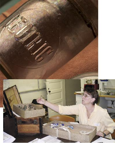 Above: Detail of mason jars, photo by Thomas Ames Jr.; below, Ginny Fisher at work on the trunk exhibit.