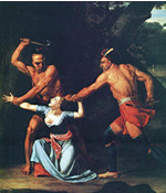 The death of Jane McCrea in 1777 became a popular subject for artists of the time, such as John Vanderlyn's interpretation (left) The Death of Jane McCrea(1804, Wadsworth Atheneum).