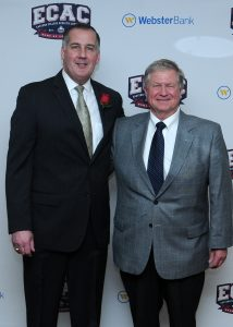 ENDURING FRIENDSHIP: Longtime athletic director John Clark joined Dudek at the induction ceremony in April. Photo courtesy of ECAC.