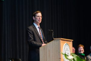 Donald Birx at the announcement of his presidency of Plymouth State University on May 14, 2015. Kaleb Hart '11 photo.