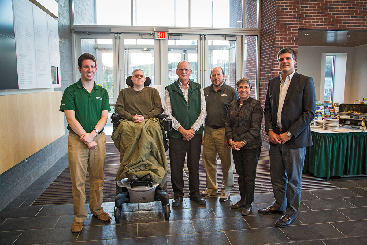 From Left to Right: Alex Herbst '15 (Graduating Senior Award of Excellence), Colonel Craig Souza '87 (Distinguished Alumni Service Award), Larry Coffin '64 (Ut Prosim Award), Eric Hoffman (Faculty/Staff Award of Excellence), Kathy Eneguess '74 (Alumni achievement Award), Matthew Krause '08G (Outstanding Graduate Alumni Award) NOT PRESENT: Brad Simpkins '08G (Recent Alumni Award of Excellence)