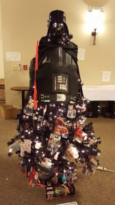 The Star Wars tree was among the trees raffled at the event to raise funds for scholarships.