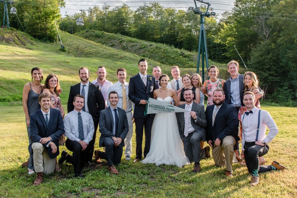 Pictured from right to left, Top Row: Jenna Best '12, Molly Parsons '10, Graham Cartwright '11, Colin Rasicot '10, Dylan Censorio '10, Ryan Johnson '09 (Groom), Alissa Flaccavento '10 (Bride), Josh Peavey '10, William Lally '10, Lindsay Lefeur '09, Katie Frechette '10, Rachel Best '09, Ryan Moran '10, Jenna Doucette '13; Bottom Row: Ryan Goldsmith '13, Bradford Guyer '10, Shawn Burns '09, Griffin Lefleur '10, Rob Bridgman '10, Brett Lucas '10
